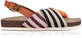 Tory Burch Corey Multi Patchwork Stripe Tech Knit Fabric and Leather Flatform Sandals
