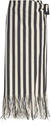 Rejina Pyo Robin Striped Fringed Denim Skirt