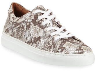 Aquatalia Avery Metallic Snake-Embossed Sneakers