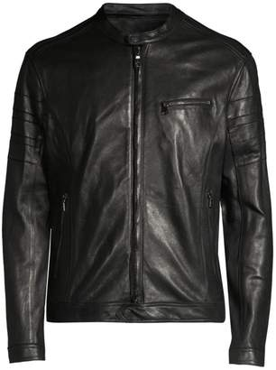 Slim-Fit Leather Moto Jacket