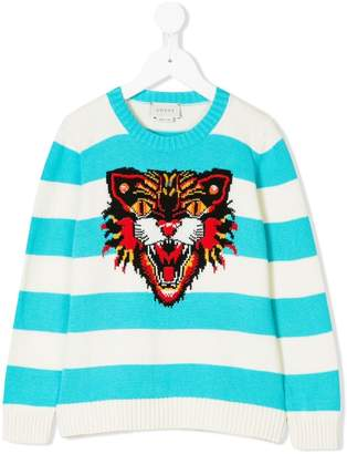 Gucci Kids Angry Cat-intarsia striped sweater