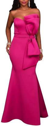SEBOWEL Women's Elegant Strapless Big Bow Mermaid Maxi Wedding Dress M