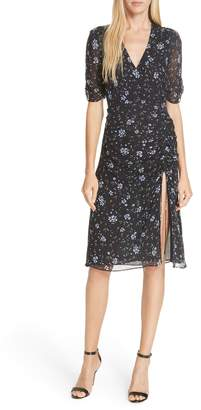 Nicholas Ditsy Floral Print Ruched Silk Dress