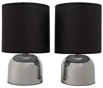 ColourMatch Pair of Touch Table Lamps - Jet Black
