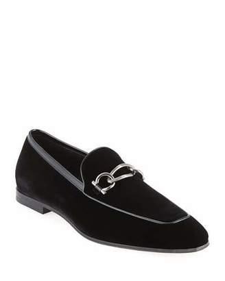 Salvatore Ferragamo Men's Boy 2 Chain Detail Velvet Loafer