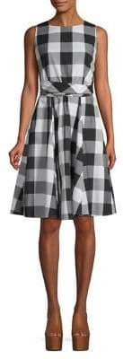 Calvin Klein Buffalo Plaid Belted Fit--Flare Dress