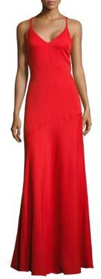 Moschino Solid V-Neck Gown
