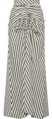 Paper London Saskia Gathered Striped Woven Maxi Skirt