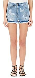 Valentino WOMEN'S BUTTERFLY APPLIQUÉ DENIM SHORTS
