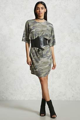 Forever 21 Belted Camo T-Shirt Dress