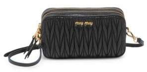Miu Miu Matelasse Leather Double-Zip Crossbody Bag
