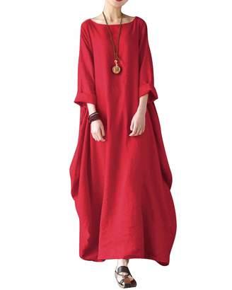 1a908a9eab BIUBIU Women s Plus Size Linen Cotton d Tunic Batwing Kaftans Maxi Dress 4XL