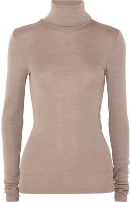 Hanro Wool And Silk-blend Turtleneck Sweater - Taupe