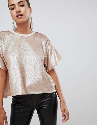 Asos DESIGN embellished sequin tshirt with open back