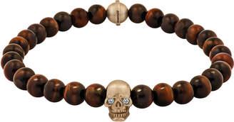 Snake Bones 18K Gold Skull Bracelet With Diamond Eye Tiger