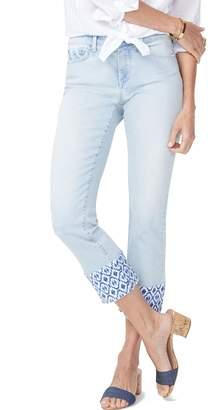 NYDJ Sheri High Waist Print Hem Ankle Slim Jeans