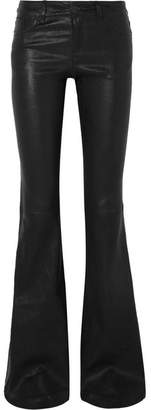 Alice + Olivia Leather Flared Pants - Black