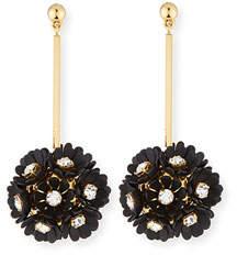 Lele Sadoughi Plumeria Crystal Drop Earrings, Black