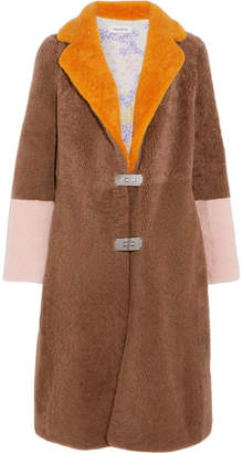Saks Potts - Febbe Color-block Shearling Coat - Brown