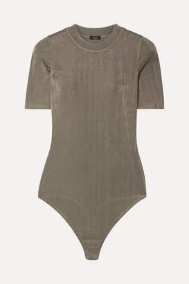 Alix Ridge Metallic Stretch-jersey Thong Bodysuit - Army green
