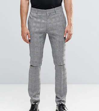 Religion Skinny Suit Pants In Prince of Wales Check with Ripped Knees