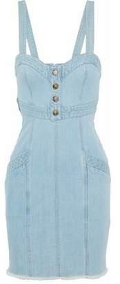 Nicholas Frayed Button-Embellished Denim Mini Dress