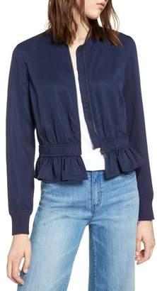 Halogen Ruffle Hem Zip Front Jacket