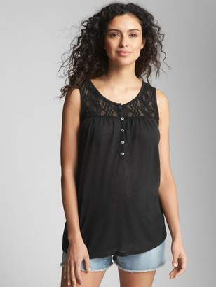 Gap Maternity Crochet-Detail Tank Top in Linen Jersey