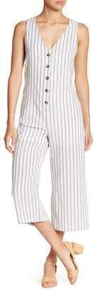 Love + Harmony V-Neck Front Button Stripe Jumpsuit