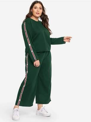 Shein Plus Tape Detail Sweatshirt With Wide Leg Pants