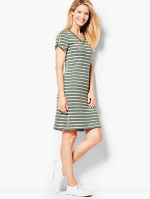 Talbots Drapey Knit Stripe Dress