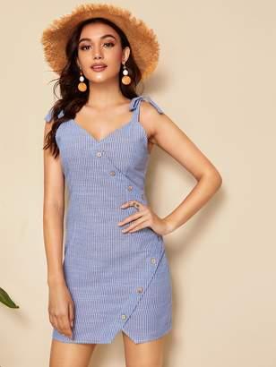 Shein Self Tie Shoulder Asymmetrical Button Dress