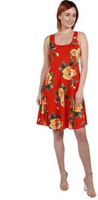 24/7 Comfort Apparel 24Seven Comfort Apparel Allie Short Sleeve EmpireWaist Coral Pink Mini Dress - Plus