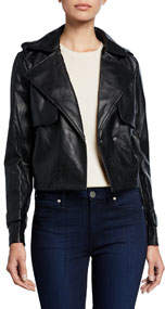 Faux-Leather Cropped Trench Coat
