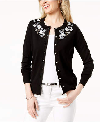Charter Club Embellished Applique-Detail Cardigan, Created for Macy's