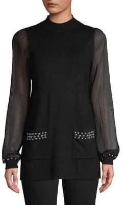 INC International Concepts Mesh-Sleeve Studded Top