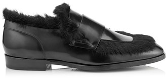 Jimmy Choo TEDI Black Brushed Off Leather Loafers with Rabbit Fur