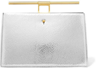 THE VOLON Chateau Mini Metallic Cracked And Textured-leather Clutch