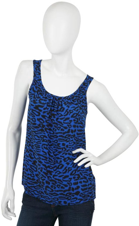 Amanda Uprichard Leopard Silk Gathered Tank in Blue