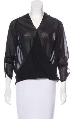Helmut Lang Surplice Semi-Sheer Blouse