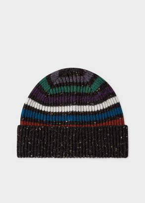 Paul Smith Men's Black Donegal Stripe Wool Beanie Hat