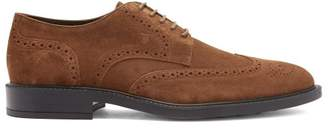 Tod's Bucature Suede Derby Shoes - Mens - Brown