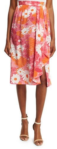 Michael Kors Collection Daisy-Print Wrap Skirt, Pink/Multi