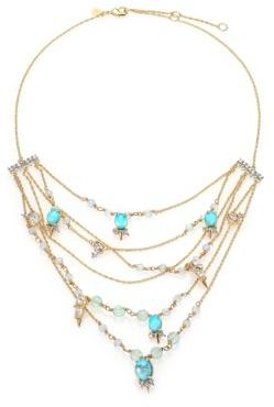 Alexis Bittar Elements Crystal, Howlite & Fluorite Spike Accented Multi-Strand Necklace $295 thestylecure.com