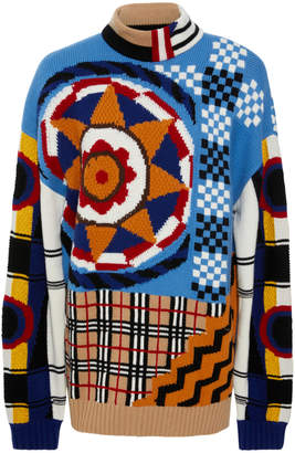 """Burberry Oversized Patchwork-Effect Wool"""" Cashmere And Cotton-Blend Sweater"""