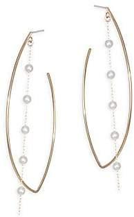 Mizuki Women's Sea Of Beauty Marquis 3MM Round Akoya Pearl & 14K Yellow Gold Hoop Earrings