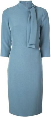 Badgley Mischka Tie-neck fitted midi dress