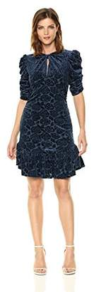 Donna Morgan Women's Knotted Front Puff Sleeve Dress with Flounce