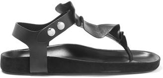 Isabel Marant - Leakey Ruffled Leather Sandals - Black $560 thestylecure.com