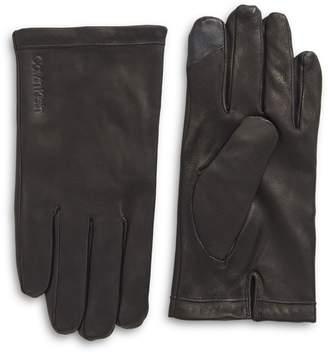 Calvin Klein Logo Leather Gloves